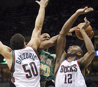 The Bucks suffocate Ray Allen, who shoots 2-for-11 from the field and finishes with eight points.  (AP)