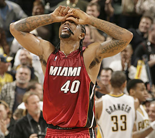 Not again: Udonis Haslem's Heat lose in Indiana for the 17th straight time. (Getty Images)