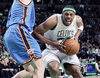 The Celtics are always a dangerous team when Paul Pierce (27 points) is in the lineup.  (AP)