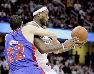 Tayshaun Prince and the Pistons lose their grip late against LeBron's Cavs, who move to 36-1 at home.  (AP)