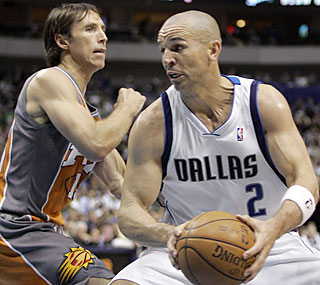 Jason Kidd needs just three quarters to collect a season-high 20 assists against the Suns.  (AP)