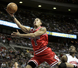 Rookie of the Year candidate Derrick Rose adds eight assists and five boards to his 24 points.  (AP)