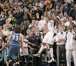 Mike Miller can only watch as Jason Terry buries an 18-footer to win it for the Mavs.  (Getty Images)