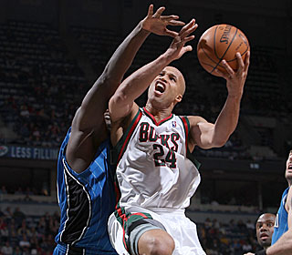 Richard Jefferson attacks the Magic defense during his 24-point output.  (Getty Images)