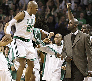 Kevin Garnett is more than happy to greet Ray Allen after his winning 3-pointer.  (AP)