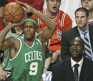 Rajon Rondo has made K.G. proud, averaging 22.7 points, 9.7 assists and 10.7 boards this series.  (AP)