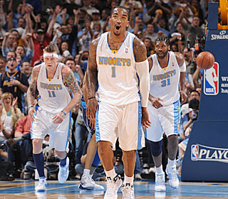 J.R. Smith gets the Nuggets going with his scoring (15 points) and passing (six assists).  (Getty Images)