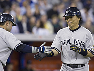 Hideki Matsui receives props for scoring the go-ahead run on his eighth-inning blast.  (AP)