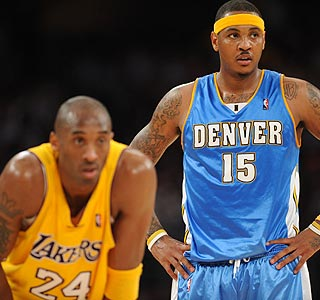 The game's stars don't disappoint: Kobe Bryant scores 32 while Carmelo Anthony drops 34.