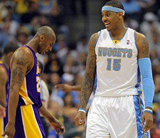 Carmelo Anthony (right) and Denver pass a big test while Kobe Bryant's path to the Finals gets tougher.