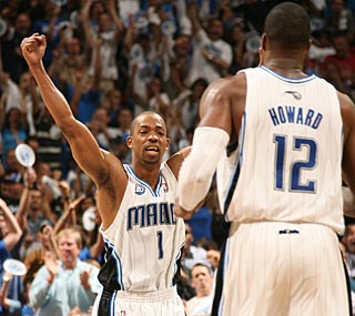 Rafer Alston is thrilled with Dwight Howard, who scores 10 points in OT after ...