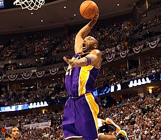 Kobe prepares for liftoff during his 35-point, 10-assist series-clinching game.
