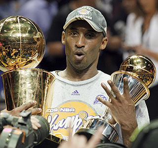 Count 'em. Finals MVP Kobe Bryant has four fingers to represent each of his championships.