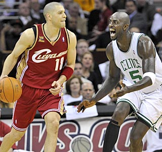 Kevin Garnett puts pressure on Anthony Parker in K.G.'s first regular-season game since March.