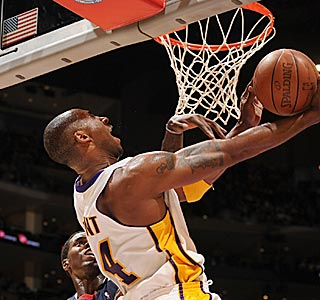 Kobe Bryant gets creative during the 97th 40-point game in his 14-year NBA career.  (Getty Images)