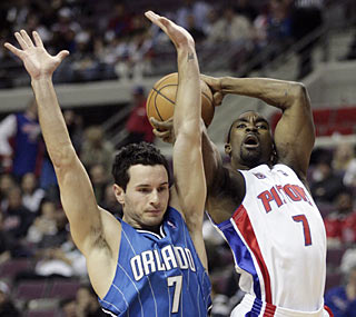 Ben Gordon provides a game-high 23 points to lead the short-handed Pistons past the Magic. (AP)