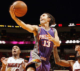 Steve Nash (30 points) and Co. raise their game late by outscoring Miami 29-15 in the fourth.  (Getty Images)