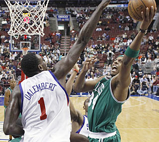 Paul Pierce leads all scorers by chipping in 21 points in the Celtics' lopsided win.  (AP)