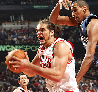 Joakim Noah scores a career-high 21 points and pulls down 16 rebounds in the win.  (Getty Images)