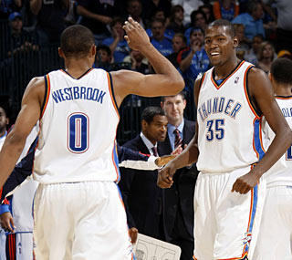 Russell Westbrook and Kevin Durant score a combined 45 points in a thrashing of the Magic.  (Getty Images)