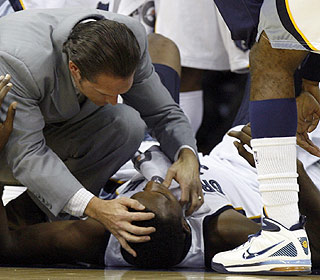 The Grizzlies take a hit when first-round pick Hasheem Thabeet goes down with a broken jaw. (AP)