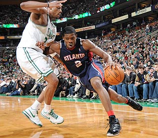 Joe Johnson isn't intimidated by the parquet floor, as he scores 24 in the win. (Getty Images)