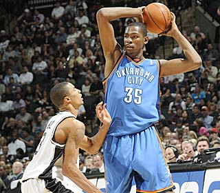 Kevin Durant and the Thunder are making strides, handing the Spurs their first home loss.  (Getty Images)