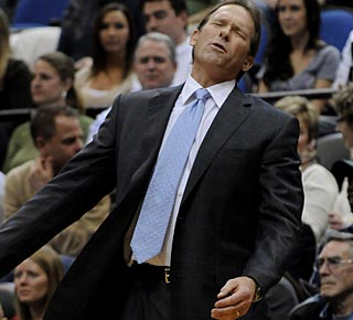 Coach Kurt Rambis' expression sums up his feelings about Minnesota's 11-game losing streak.  (AP)