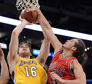 Pau Gasol scores 24 points and collects 13 rebounds in his first game this season. (AP)