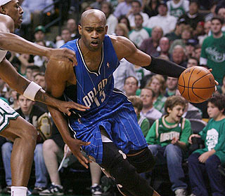 He wasn't with the Magic last season, but Vince Carter makes his presence felt in the Garden. (Getty Images)