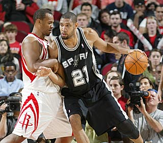 The Rockets have no answer for Tim Duncan, who puts up 21 points and 12 rebounds.  (Getty Images)