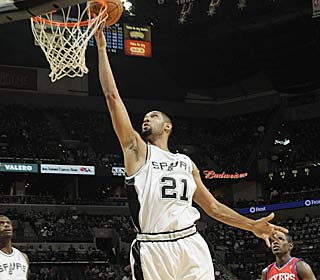 Tim Duncan sinks two of his game-high 22 points to hand the 76ers their sixth straight loss.  (Getty Images)