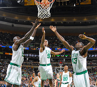 K.G., Rajon Rondo and Kendrick Perkins combine for 51 points to fuel the C's to another win.  (Getty Images)