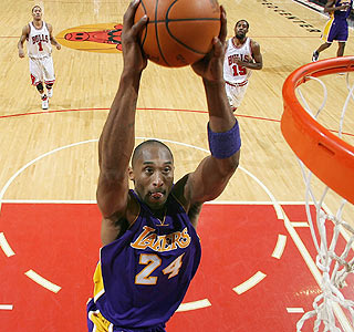 Kobe Bryant goes up for a breakaway dunk for two of his season-high 42 points.  (Getty Images)