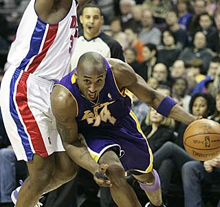Kobe Bryant picks apart the Pistons for a game-high 28 points, hitting 11 of 23 from the field.  (AP)