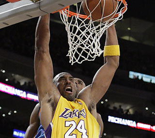 Kobe Bryant, who's making 40-point outings a regular occurrence, also gets eight boards and six dimes.  (AP)