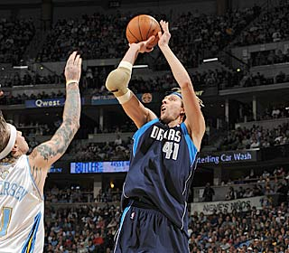 Dirk Nowitzki (13 points) is one of seven Mavericks to reach double figures in scoring.  (Getty Images)