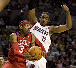 Allen Iverson, sharp in his return from a four-game absence, scores 19 points in the win. (AP)
