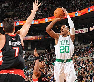 Ray Allen steps up for the Celtics, who are missing three starters, with 23 points.  (Getty Images)