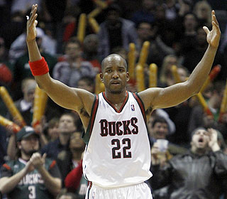 Michael Redd soaks up the overtime atmosphere as the Bucks end their four-game slide. (AP)