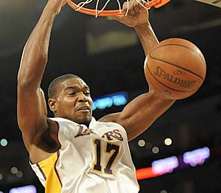 Andrew Bynum steps up for the Lakers, getting 17 points and a career-high 18 boards.  (Getty Images)
