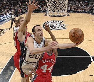 Manu Ginobili scores 21 of the Spurs' 59 points off the bench to top the Nets.  (Getty Images)