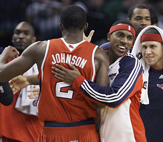 Joe Johnson deserves a pat on the back as he helps the Hawks move to 3-0 against the C's this season.  (AP)