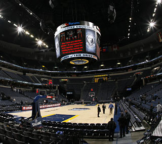 A water line break in the arena leads to a mandatory evacuation and a 36-minute delay.  (Getty Images)