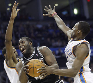 Rookie DeJuan Blair has a monster effort with career highs in both points (28) and boards (21).  (AP)