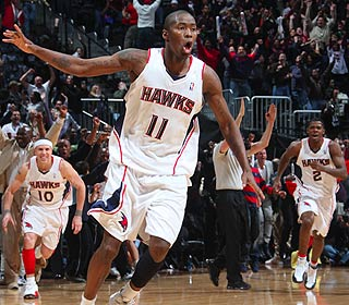 It's good! Jamal Crawford causes bedlam in Atlanta when he drills the winning 3-pointer. (Getty Images)