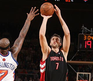 Andrea Bargnani goes off for 24 points and 12 rebounds, and buries 9 of 13 attempts.  (Getty Images)