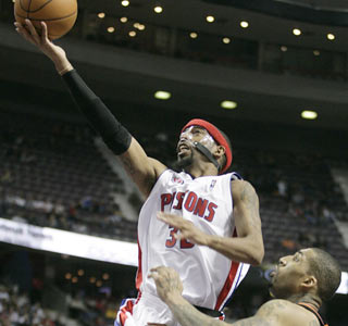Rip Hamilton is one of five Pistons to score in double figures as Detroit wins its third straight.  (AP)