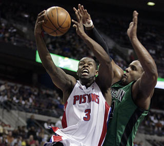 Rodney Stuckey gives the Celtics a fit by producing 27 points and a career-best 11 rebounds.  (AP)