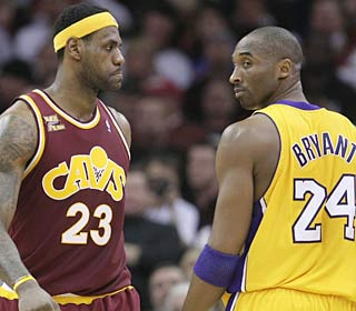 LeBron James and the Cavaliers sweep Kobe Bryant's Lakers in the regular-season matchup.  (AP)